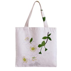 Flower Floral Sakura Zipper Grocery Tote Bag by AnjaniArt