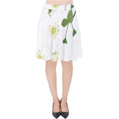 Flower Floral Sakura Velvet High Waist Skirt by AnjaniArt