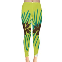 Flower Floral Green Leggings  by AnjaniArt