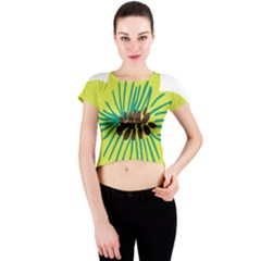 Flower Floral Green Crew Neck Crop Top by AnjaniArt
