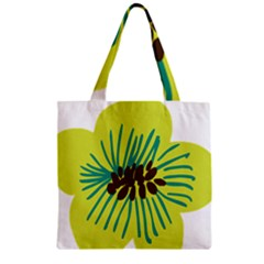 Flower Floral Green Zipper Grocery Tote Bag by AnjaniArt