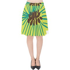 Flower Floral Green Velvet High Waist Skirt by AnjaniArt