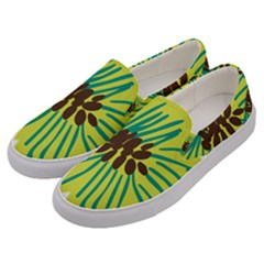 Flower Floral Green Men s Canvas Slip Ons by AnjaniArt