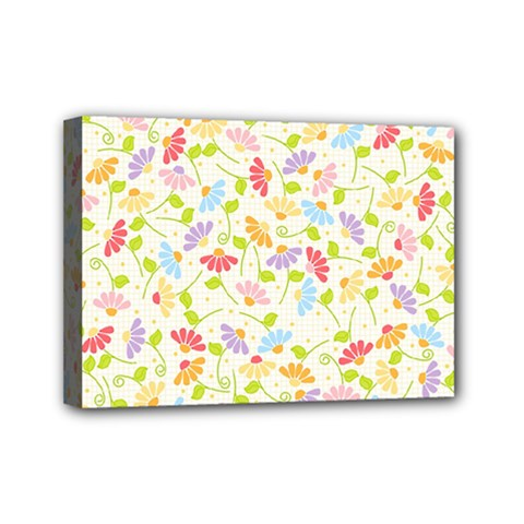 Flower Rainbow Sexy Leaf Plaid Vertical Horizon Mini Canvas 7  X 5  by AnjaniArt