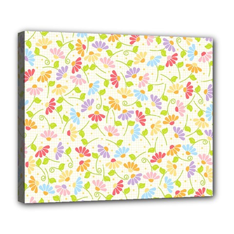 Flower Rainbow Sexy Leaf Plaid Vertical Horizon Deluxe Canvas 24  X 20   by AnjaniArt