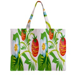 Fruit Flower Leaf Red White Green Starflower Zipper Mini Tote Bag by AnjaniArt