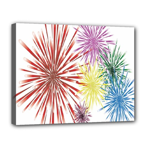 Happy New Year City Semmes Fireworks Rainbow Red Blue Yellow Purple Sky Canvas 14  X 11  by AnjaniArt