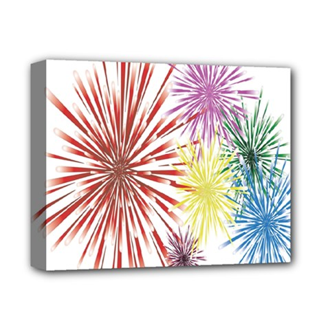 Happy New Year City Semmes Fireworks Rainbow Red Blue Yellow Purple Sky Deluxe Canvas 14  X 11  by AnjaniArt
