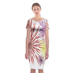 Happy New Year City Semmes Fireworks Rainbow Red Blue Yellow Purple Sky Classic Short Sleeve Midi Dress by AnjaniArt