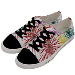 Happy New Year City Semmes Fireworks Rainbow Red Blue Yellow Purple Sky Men s Low Top Canvas Sneakers by AnjaniArt