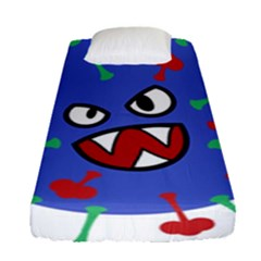Monster Virus Blue Cart Big Eye Red Green Fitted Sheet (single Size) by AnjaniArt