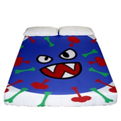 Monster Virus Blue Cart Big Eye Red Green Fitted Sheet (california King Size) by AnjaniArt