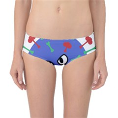 Monster Virus Blue Cart Big Eye Red Green Classic Bikini Bottoms by AnjaniArt