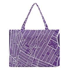 New York Map Art City Street Purple Line Medium Tote Bag by AnjaniArt