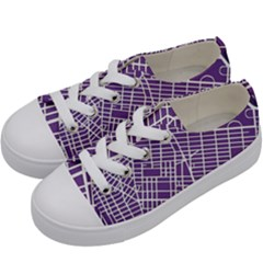 New York Map Art City Street Purple Line Kids  Low Top Canvas Sneakers by AnjaniArt