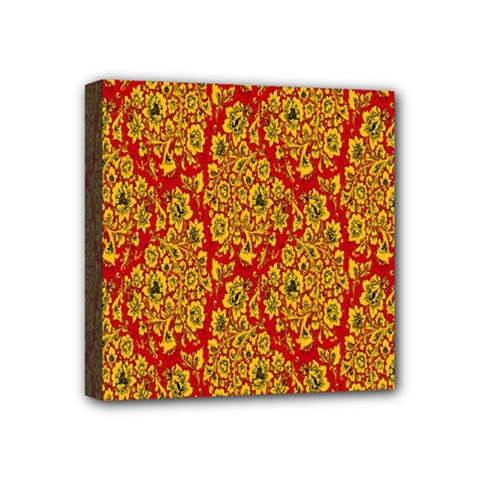 Flower Rose Red Yellow Sexy Mini Canvas 4  X 4  by AnjaniArt