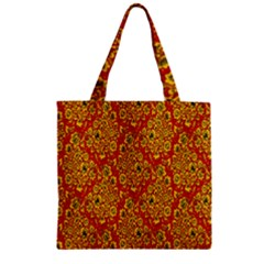 Flower Rose Red Yellow Sexy Zipper Grocery Tote Bag by AnjaniArt