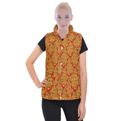 Flower Rose Red Yellow Sexy Women s Button Up Puffer Vest