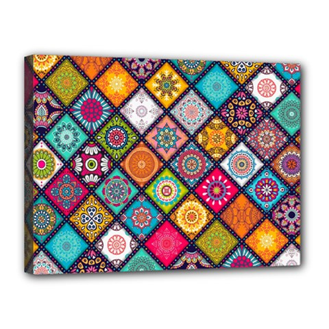 Flower Star Sign Rainbow Sexy Plaid Chevron Wave Canvas 16  X 12  by AnjaniArt