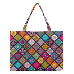 Flower Star Sign Rainbow Sexy Plaid Chevron Wave Medium Tote Bag by AnjaniArt