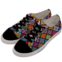 Flower Star Sign Rainbow Sexy Plaid Chevron Wave Men s Low Top Canvas Sneakers by AnjaniArt
