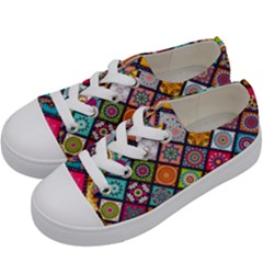 Flower Star Sign Rainbow Sexy Plaid Chevron Wave Kids  Low Top Canvas Sneakers by AnjaniArt