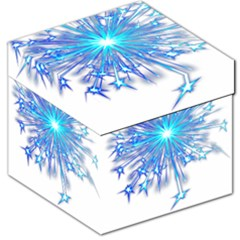 Fireworks Sky Blue Silver Light Star Sexy Storage Stool 12   by AnjaniArt