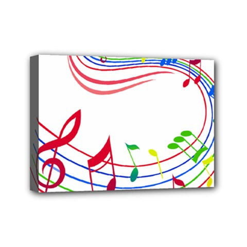 Rainbow Red Green Yellow Music Tones Notes Rhythms Mini Canvas 7  X 5  by AnjaniArt