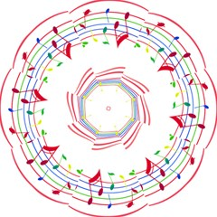 Rainbow Red Green Yellow Music Tones Notes Rhythms Folding Umbrellas by AnjaniArt