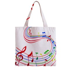 Rainbow Red Green Yellow Music Tones Notes Rhythms Zipper Grocery Tote Bag by AnjaniArt