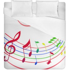 Rainbow Red Green Yellow Music Tones Notes Rhythms Duvet Cover (king Size) by AnjaniArt