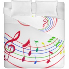 Rainbow Red Green Yellow Music Tones Notes Rhythms Duvet Cover Double Side (king Size) by AnjaniArt