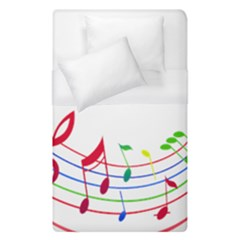 Rainbow Red Green Yellow Music Tones Notes Rhythms Duvet Cover (single Size) by AnjaniArt