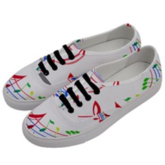 Rainbow Red Green Yellow Music Tones Notes Rhythms Men s Classic Low Top Sneakers by AnjaniArt