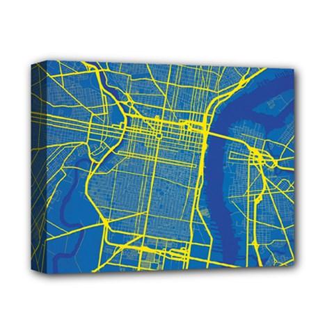 Philadelphia New York Map Art City Deluxe Canvas 14  X 11  by AnjaniArt