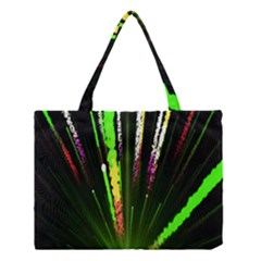 Seamless Colorful Green Light Fireworks Sky Black Ultra Medium Tote Bag by AnjaniArt