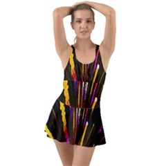 Seamless Colorful Light Fireworks Sky Black Ultra Swimsuit