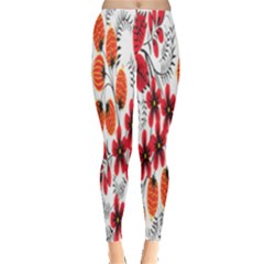 Rose Flower Red Orange Leggings  by AnjaniArt