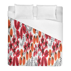 Rose Flower Red Orange Duvet Cover (full/ Double Size) by AnjaniArt
