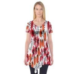 Rose Flower Red Orange Short Sleeve Tunic