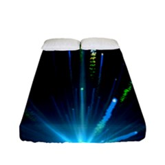 Seamless Colorful Blue Light Fireworks Sky Black Ultra Fitted Sheet (full/ Double Size) by AnjaniArt