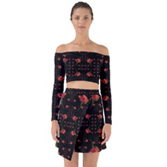 Roses From The Fantasy Garden Off Shoulder Top With Skirt Set by pepitasart