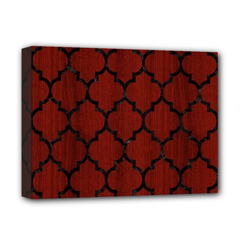 Tile1 Black Marble & Reddish Brown Wood Deluxe Canvas 16  X 12   by trendistuff