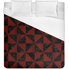 Triangle1 Black Marble & Reddish Brown Wood Duvet Cover (king Size)