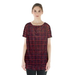 Woven1 Black Marble & Reddish Brown Wood Skirt Hem Sports Top by trendistuff