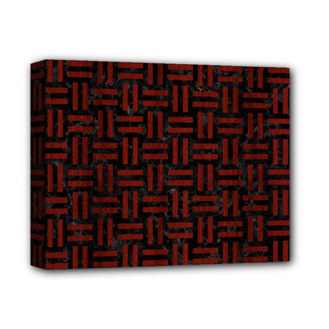 Woven1 Black Marble & Reddish Brown Wood (r) Deluxe Canvas 14  X 11  by trendistuff