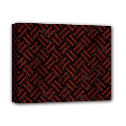 Woven2 Black Marble & Reddish Brown Wood (r) Deluxe Canvas 14  X 11  by trendistuff