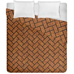 Brick2 Black Marble & Rusted Metal Duvet Cover Double Side (california King Size) by trendistuff