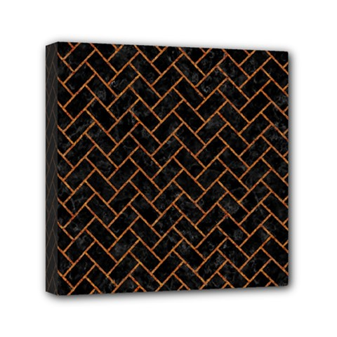 Brick2 Black Marble & Rusted Metal (r) Mini Canvas 6  X 6  by trendistuff