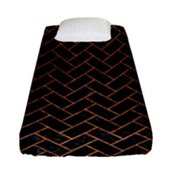 Brick2 Black Marble & Rusted Metal (r) Fitted Sheet (single Size) by trendistuff